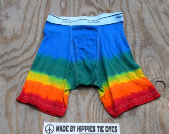 Wading through Rainbows Tie Dye Men's Underwear (Fruit of the Loom Boxer Briefs Size M) (One of a Kind)