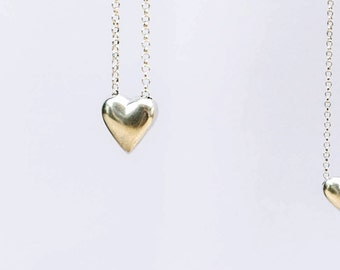 Large Chubby Heart sterling silver necklace pendant.