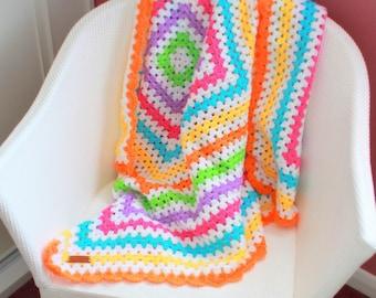 FREE SHIPPING Tutti Fruity Crochet Baby Blanket - Granny Square - Lap TV Blanket - Pram Stroller Blanket - Sofa Throw 40 x 40