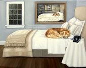 Sleepy Golden. . .Life Imitating Art (after Wyeth) . . . . .11x14 Fine Art Giclee Print by LARA Dog Puppy Retriever Lab