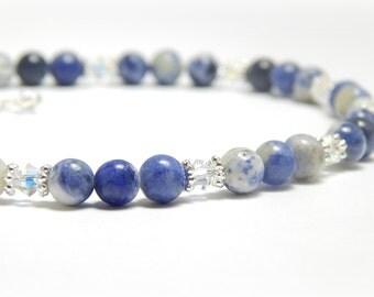 Anklet, Ankle Bracelet, Blue Gemstone Anklet, Sodalite Anklet, Swarovski Crystal Anklet, Adjustable Anklet for Women