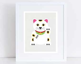 lucky cat - art print - japanese maneki neko illustration, art, beckoning cat, waving, good luck, kitty, kitten, pet art, artwork, bright
