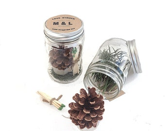 Pine Cone Fire Starter Kits Personalized Wedding & Bridal Shower Favors - Natural Pine Cone Wedding Table Decorations - Clear Jars