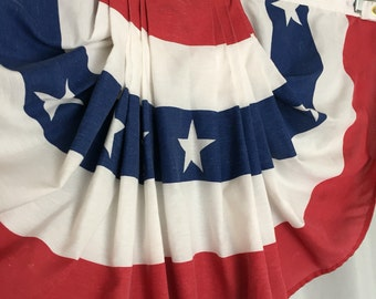 Flag Bunting Vintage Fabric Stars and Stripes USA Distressed Rustic Farmhouse Patriotic Decor Red White and Blue