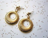 Gold Hoop Earrings - Vintage Inspired Earrings - 40s 50s - Post Earrings - Small