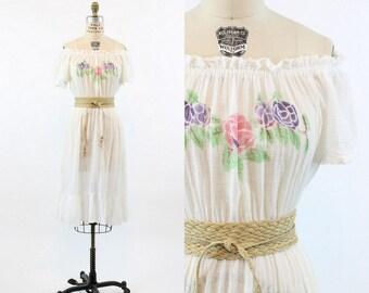 70s Gauzy Cotton Dress XS-Medium / 1970s Vintage Sheer White Floral Peasant Dress / Road to Joy Dress
