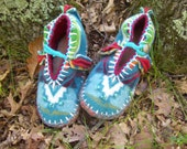 Custom Order for Blain: One Pair of Turquoise Torqued Moccasins with Water-Resistant Soling
