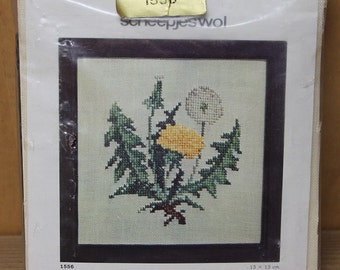 cross stitch dandelion,Scheepjeswol,#1556,13cmX13cm crossstitch,chart&linen piece,dandelion cross stitch,dandelion,flower,cushion,frame