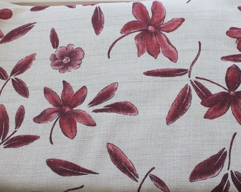 burgundy flowers on beige fabric,polyester and cotton fabric,summer fabric,burgundy fabric,beige fabric,sewing,costume,dress,pants,