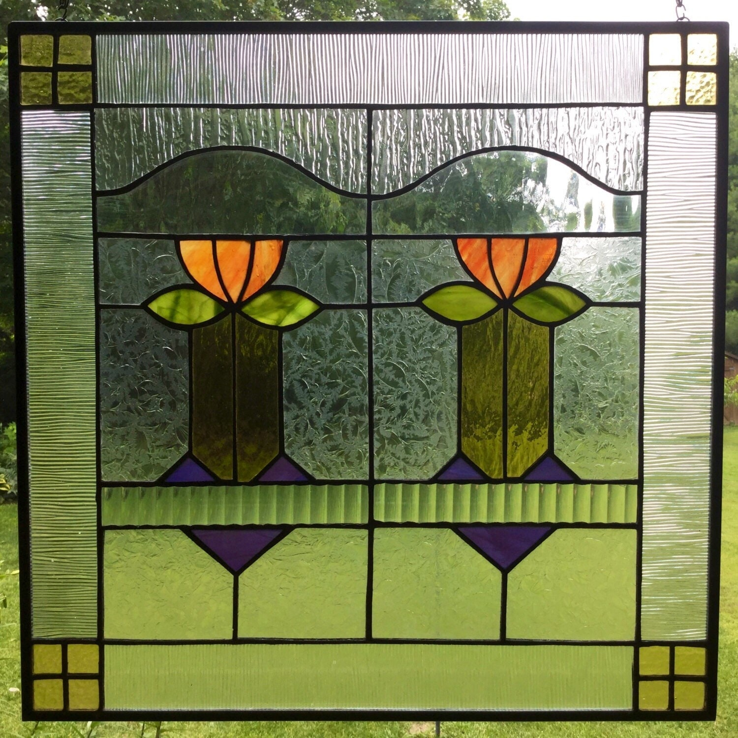 Craftsman missions stained glass window panel arts and crafts for Arts and crafts glass