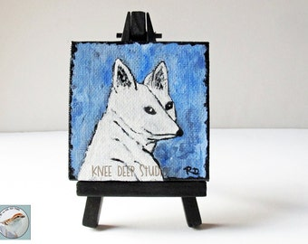 Arctic Fox Painting Original Acrylic on Mini Canvas 3x3 fine art with easel blue sky wildlife animal totem gift under 40 ready to ship