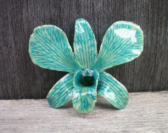Free Shipping REAL Natural Shades of Blue ORCHID Pin and Pendant