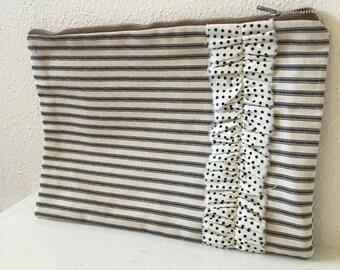 Ticking Stripe Zipper Pouch/ Makeup Bag/ Ruffled Pouch