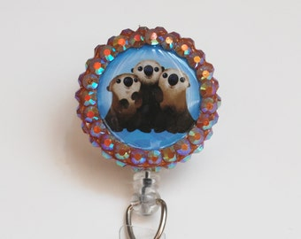 Finding Dory's Cuddle Party Otters ID Badge Reel - Retractable ID Badge Holder - Zipperedheart