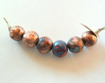 12mm Round Raku Fired Clay Beads - Set of 6