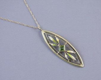 Antique Edwardian 14k gold enamel green peridot pendant necklace