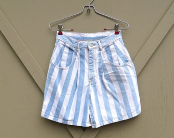 80s vintage High Waist Faded Light Blue and White Striped Denim Shorts / Tribal Striped Shorts
