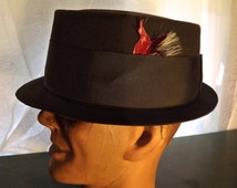 Vintage Men's Pork Pie  Hat , Charcoal Black ,by  Adam Premier Walter White Hat  Breaking Bad hat