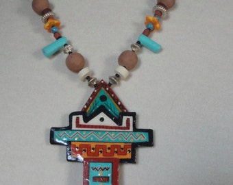 Hand Made and Painted, Reversible Terra-Cotta Clay Necklace. Southwest Style.