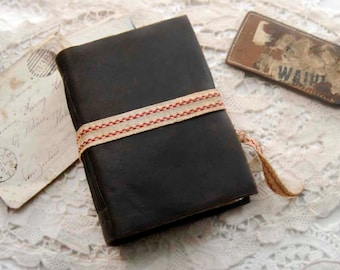 The French Traveller - Dark Brown Leather Journal, Over 330 Antiqued Pages, Vintage Maps, OOAK