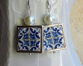Portugal Azulejo Tile Replica 925 Silver Framed Earrings from BRAGA  BLUE! (see actual Facade photo) WATERPRoOF and REVERSIBLE 707 Silver