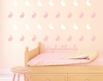 Bunny Rabbit wall decal, bunny wall sticker, Easter bunny decal, bunny nursery, vinyl wall decal, set of 50 rabbits, bunny rabbit decals