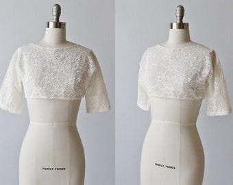 Vintage Cropped Lace Bolero Jacket Top / 1950s Lace Wedding Jacket / White Lace Blouse