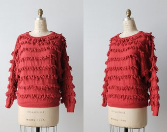 "Vintage 1980's Paula Sweet ""Muslin Mink"" Red Fringe Pullover Sweater / Full Sleeves / Cotton / Fiber Art Sweater"