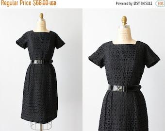 SALE Black Lace Dress / Vintage 1960s Dress / Wiggle Dress / Eyelet Lace Dress / Ann Allyn