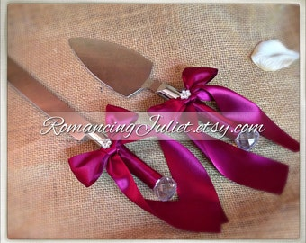 Elite Satin Cake Server Set with Rhinestone Accent ..You Choose The Bow Colors..shown in burgundy red
