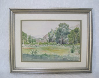 Original Watercolor Yosemite Meadow Landscape Matted Framed and Signed Verna Keays