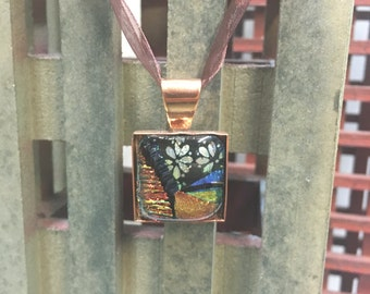 Fused Dichroic Glass Mosiac Copper Pendant