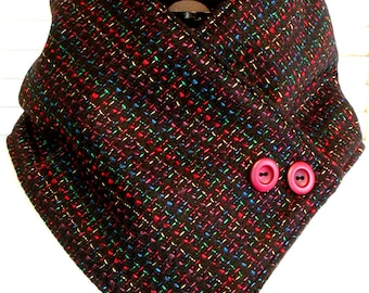Ladies Tweed NECKWARMER Black/Multi Color Wool & Fleece Cowl Scarf Women Cozy/Warm Accent Buttons Classy