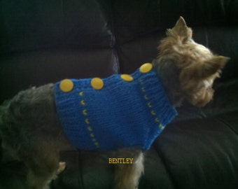 Dog Sweater, Hand Knit Pet Sweater, Button Back, Size SMALL, Blue