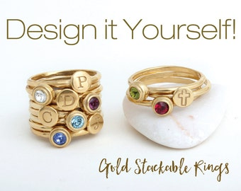 Design your Own Gold Stackable Rings.  Mix Initial Stack Rings and Birthstone Stack Rings to create your own look! Perfect Gift for Mom!