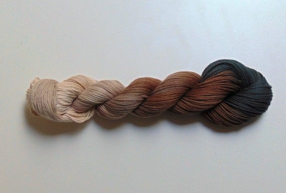 Coffee and Cream- 100 Organic Cotton, Hand Dyed, Worsted Weight Gradient Yarn