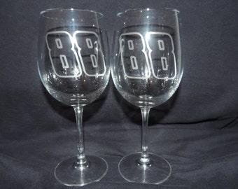 Set Of 2 Dale Earnhardt Jr Wine Glasses