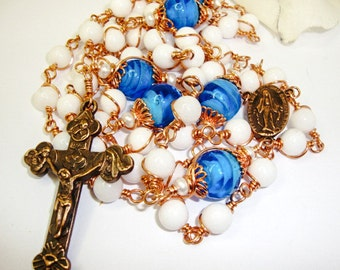 Catholic Rosary, White Jade and Copper Components, Dark Blue Paters with Copper Bead Caps and Wire wrapped