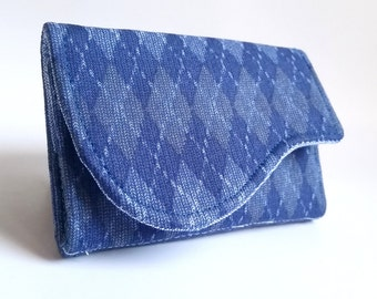 Argyle Business Card Case in Navy Blue Argyle Print - Kent