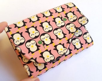 Pink Business Card Holder - Black and White Penguins Kokka Fabric - Lil Penguins