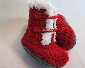 Baby mukluks boots booties red white fleece trim