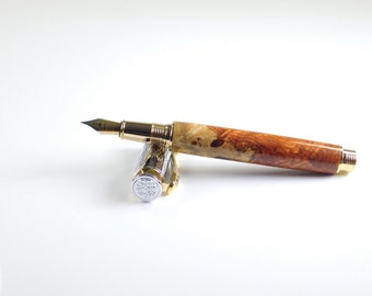 Amboyna Burl Chrome and Gold Electra Fountain Pen