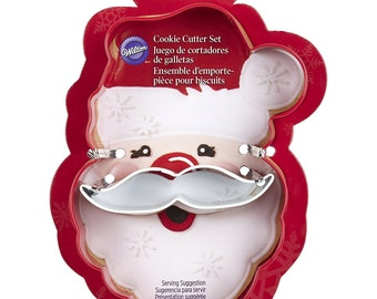 Santa Face and Moustache Cookie Cutter Wilton Christmas 2-Pc. Santa Face And Mustache Cookie Cutter Set, Holiday Cookie Decoration