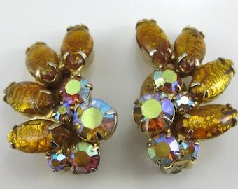 Vintage Womens Amber Foil & AB Rhinestone Costume Clip on Earrings