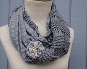 Grey  Scarves, knit Scarfs Scarves,  knit scarf, Cowl Scarf, Grey fabric grey  yarn , winter - fall women accessories, chunky infinity cowl
