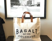 Custom City State Canvas and Leather Tote Bag | Talk of the Town Style with your City, State and Year | Gift, Housewarming, Welcome Bag