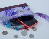 Purple flower plum wristlet, zippered pouch