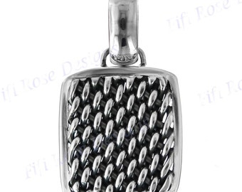 """1 1/8"""" Bali Handcrafted Braided Weave Filigree 925 Sterling Silver Pendant"""