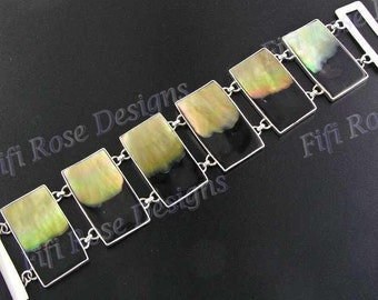 "1 1/2"" Mother Of Pearl Shell 925 Sterling Silver Bracelet"