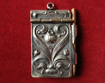 French Antique embossed bal or dance card chatelaine note pad